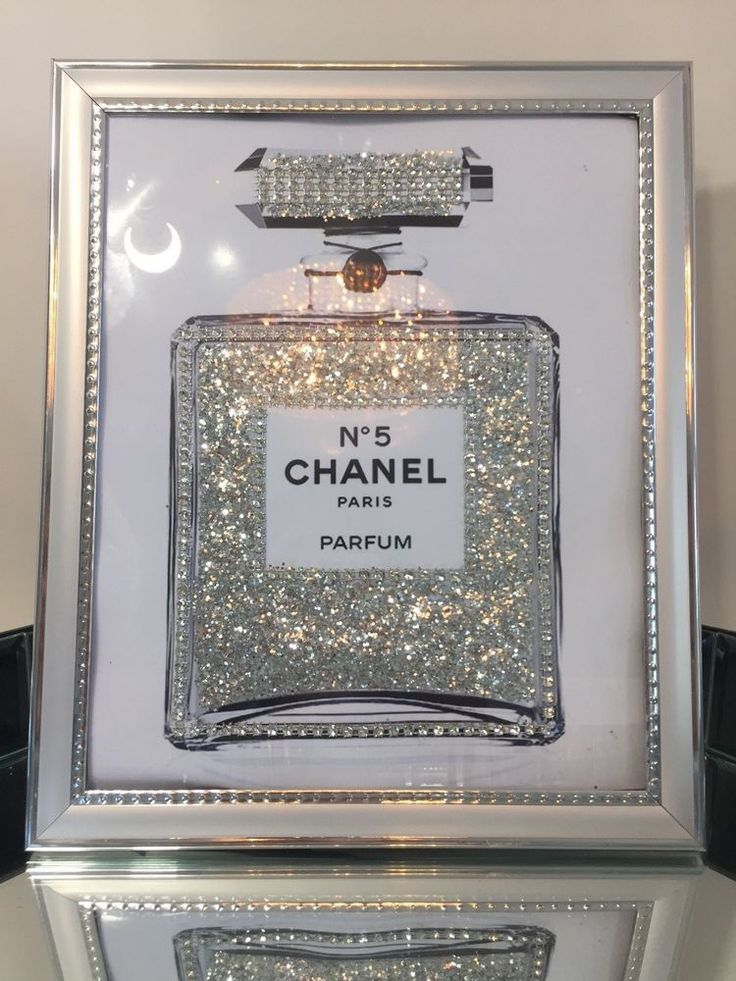 CHANEL no 5 PERFUME BLING GLITTER PRINT IN SILVER PICTURE FRAME (Included)…                                                                                                                                                                                 More