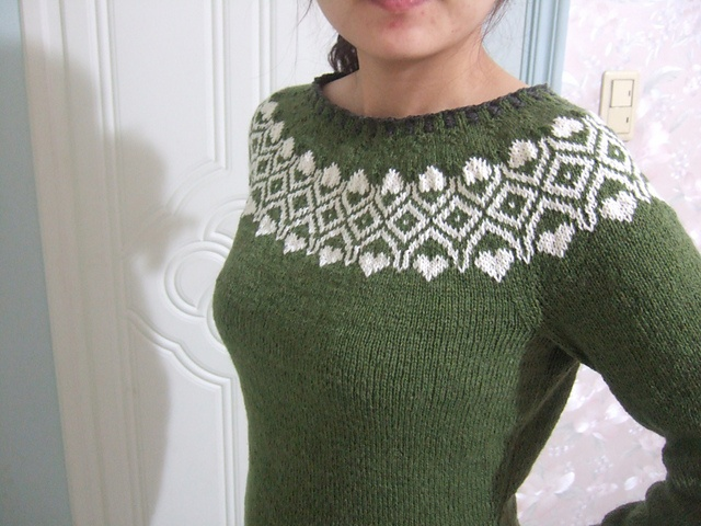 Like a dusting of snow on a forest. Love the colour combination for the Vogue Knitting pattern! http://www.ravelry.com/projects/iamarebel/07-nordic-yoke-pullover