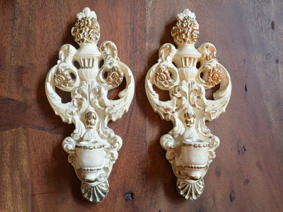 Vintage Set of Two Chalkware Plaster Gold Candle Sconces Wall Candle Holders