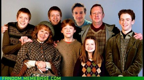 """Ok. Here's my thoery: Charlie Weasley was never in the movies. He was always """"in Romania"""" """"traveling"""" """"working with dragons"""". RORY IS CHARLIE!: Families Pictures, Weasley Families, Harrypotter, Mischief Management, Movie, Weasleyfamili, Families Photos, Harry Potter, Families Portraits"""