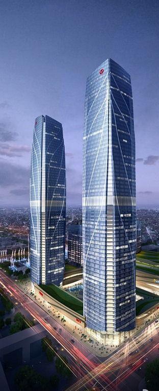 Wanda Plaza Towers, Kunming, China :: 67 floors, height 307m ☮k☮ #architecture