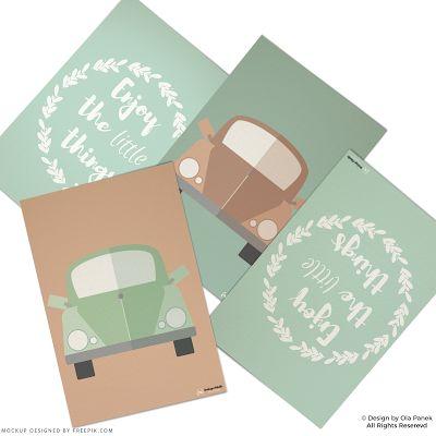 """PASTELOWE SAMOCHODZIKI  Tym razem coś dla miłośników aut w stylu retro! Wzorowane na modelu VW Beetle w odcieniach pudrowych - rozweselą pokój zarówno chłopców jak i dziewczynek :) Plakaty świetnie komponują się z sentencją """"Enjoy the little things"""" (""""Ciesz się z małych rzeczy""""). #plakatydladzieci #plakatydodruku"""