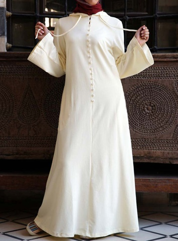 Buttoned Hooded Abaya, White $84.95