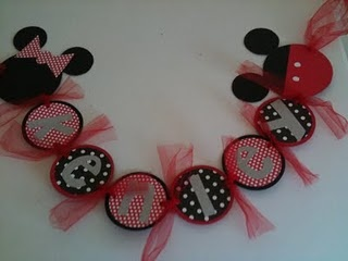 mickey mouse name banner...i just made one of these using the two end pieces (minnie & mickey) & then just used the black mickey mouse ears as the rest of the name banner.