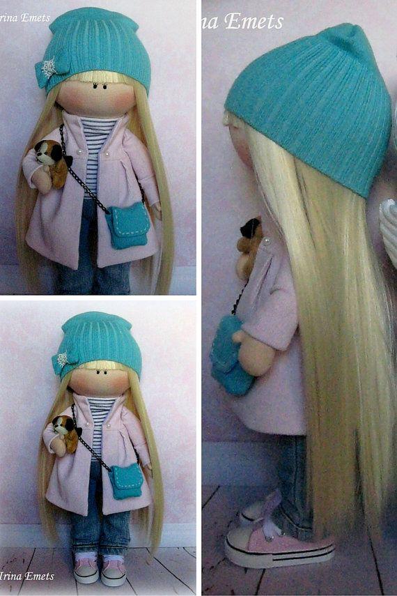 Textile doll Handmade doll Fabric doll blue by AnnKirillartPlace