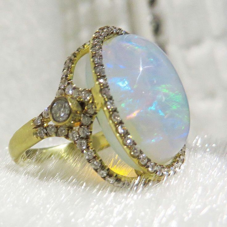 @jordanalexanderjewelry African Opal & Diamond Cage Ring Time to #getglam #africanopal #diamonds