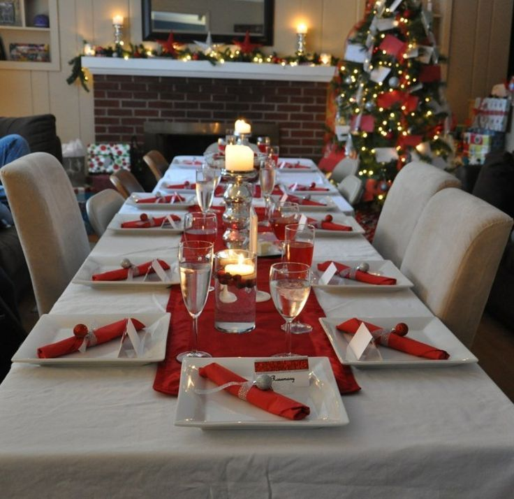 décoration de Noël : table en rouge et blanc