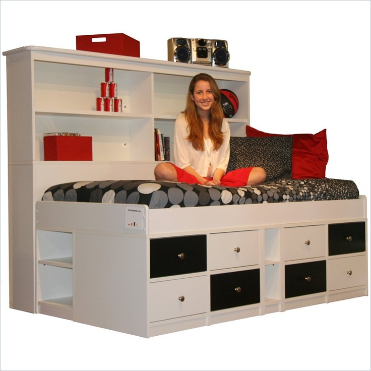 $1320 Berg Furniture Sierra Low Jr Captain's Bed with Storage Drawers this would be AMAZING for a studio.