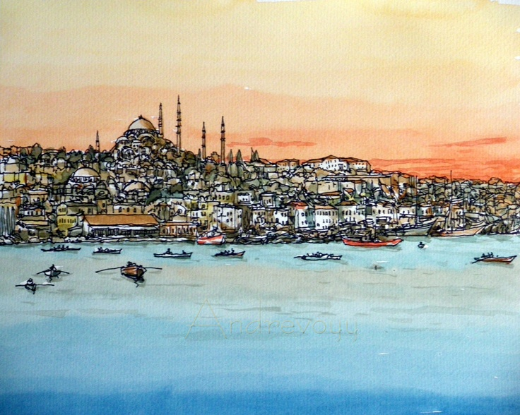 """Istanbul, Turkey, 10"""" x 8"""" print of watercolor painting, signed. $20.00, via Etsy."""