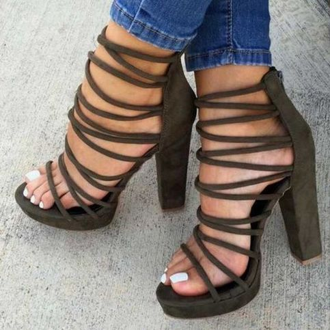 Women's Sandals High Heel Shoes Chunky Block Platform ShoesQ-0105 from Eoooh❣❣