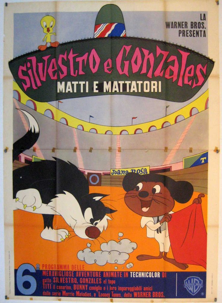 """SILVESTRO E GONZALES VINCITORI E VINTI"" MOVIE POSTER - ""THE SYLVESTER & TWEETY, DAFFY & SPEEDY SHOW"" MOVIE POSTER"