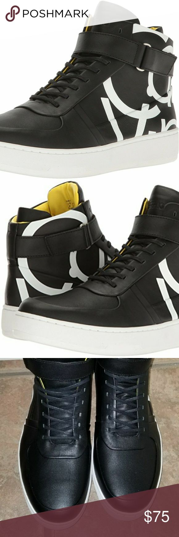 Calvin Klein Men's Navin Napa Calf Leather New NIB Calvin Klein Men's Navin Napa Calf Leather Fashion Black Sneaker Size 11.5 Calvin Klein Shoes Sneakers