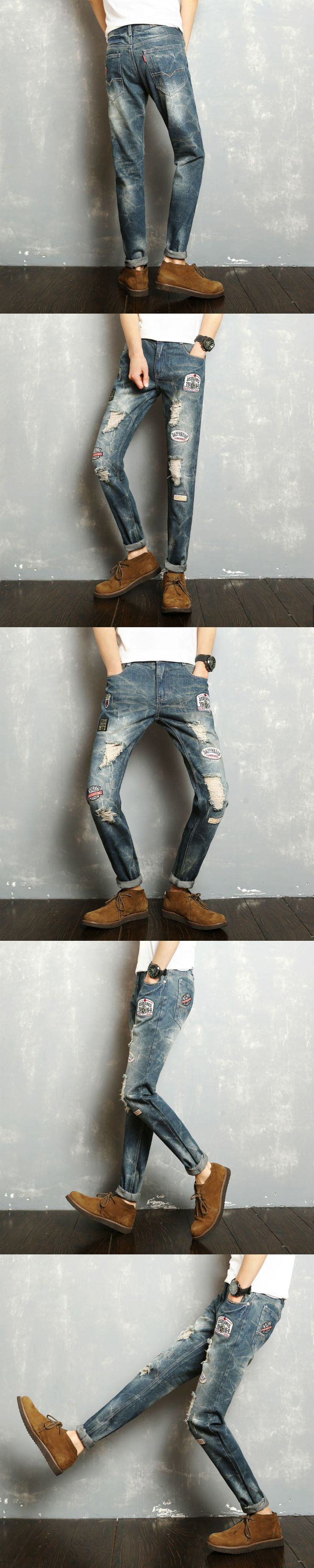 New 2017 spring hip pop style fashion patch embroidery and hole jeans men harem men jeans light blue jeans homme NZK1-3