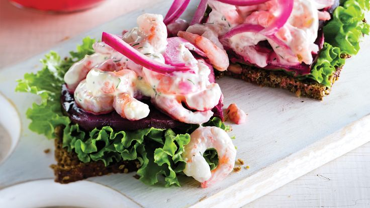 Danish Smørrebrød Sandwiches with Dilled Shrimp & Pickled Onions. Inspired by the Danish smørrebrød 
