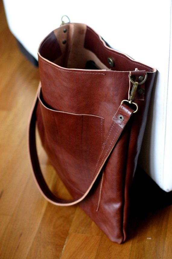 79974b3cb171 Handmade leather shoulder bag made with a genuine Italian great and soft  veg tan leather Leather tote bag This kind of leather will become better  with use ...