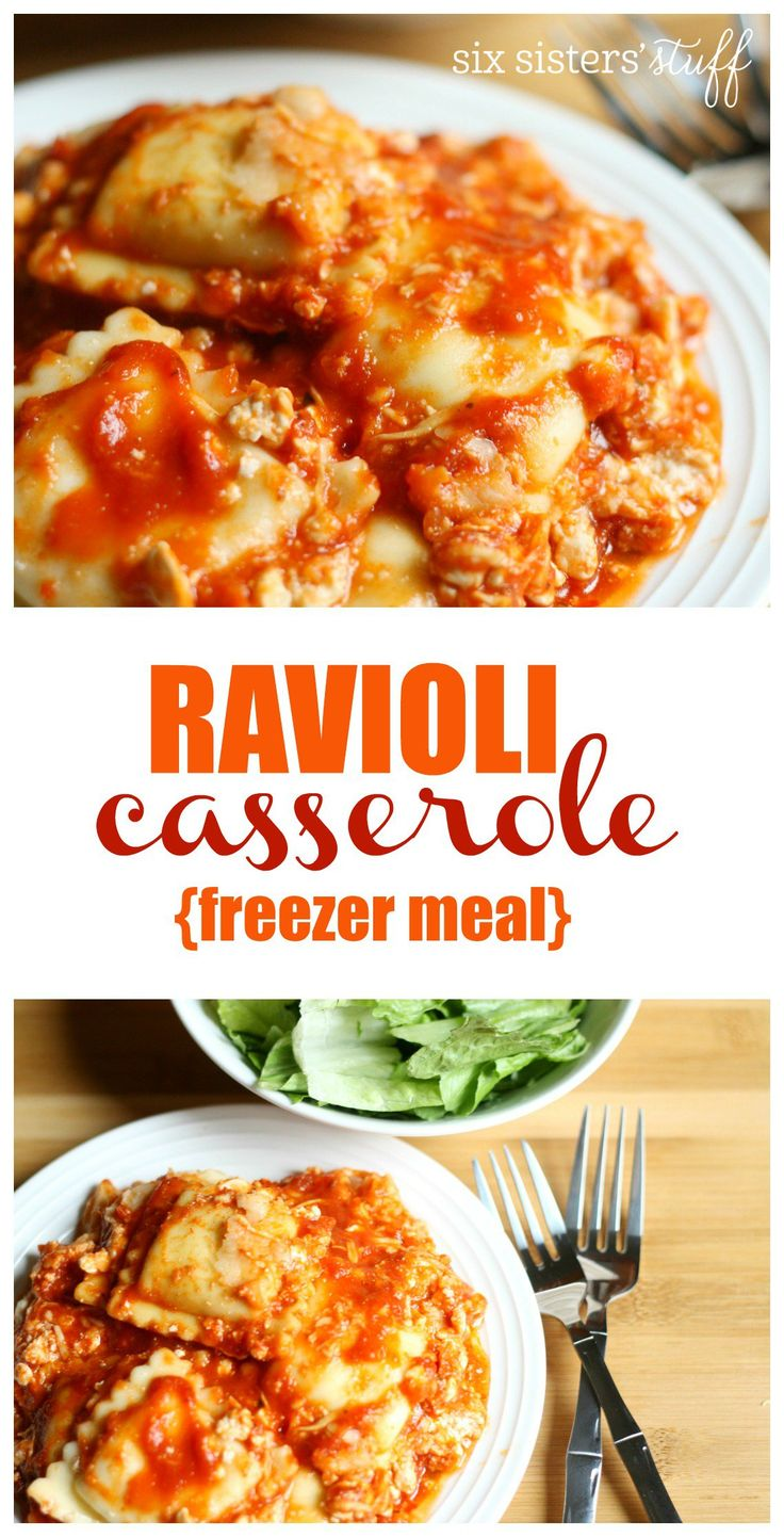 Ravioli Casserole (Freezer Meal) I add ground turkey, and a little water to the sauce. This is my absolute favorite meal right now!