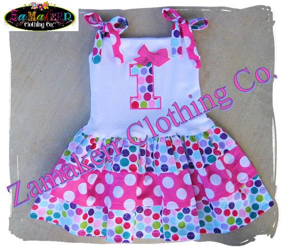 Girl Birthday Party Dress - Infant Toddler Boutique Clothing - Girl Polka Dot Dress 3 6 9 12 18 24 month size 2T 2 3T 3 4T 4 5T 5 6 7 8