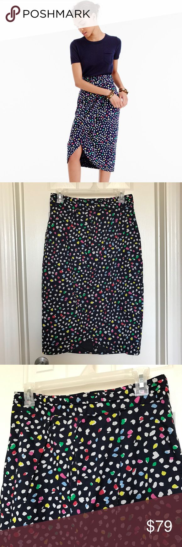 JCrew Ratti Happy Cat Tulip Pencil Skirt This is a beautiful, fun JCrew tulip skirt. The print is navy with colored polkadots and it is size 8. Brand new with tags! J. Crew Skirts