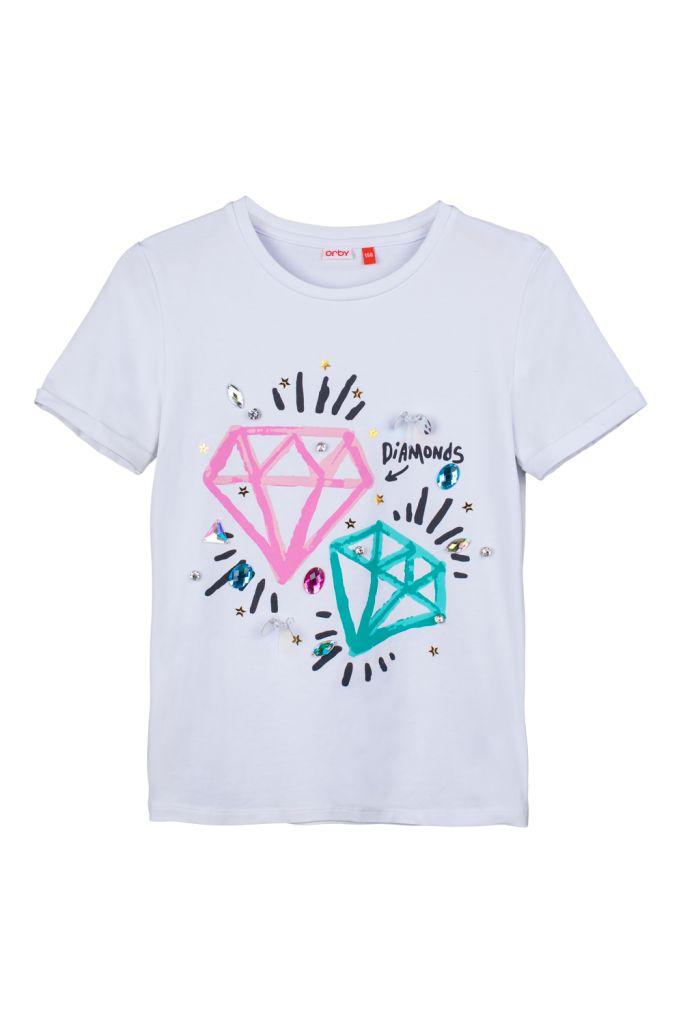 Купить Футболку для девочки цвета белый за 1199 руб. в интернет магазине Orby | Футболки и топы для девочек Orby