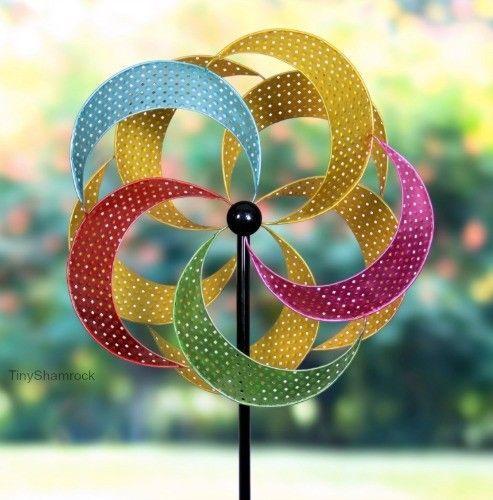 Garden Windmill Spinner Large Pinwheel Kinetic Wind Sculpture Lawn Whirly-Gig  #WindmillSpinnerGardenStake