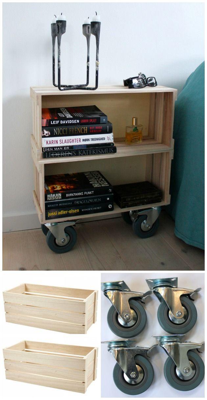 møbel af æblekasser med hjul (: