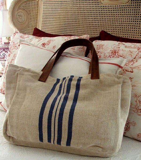 sac en toile, sac en tissu de jute avec des anses en cuir