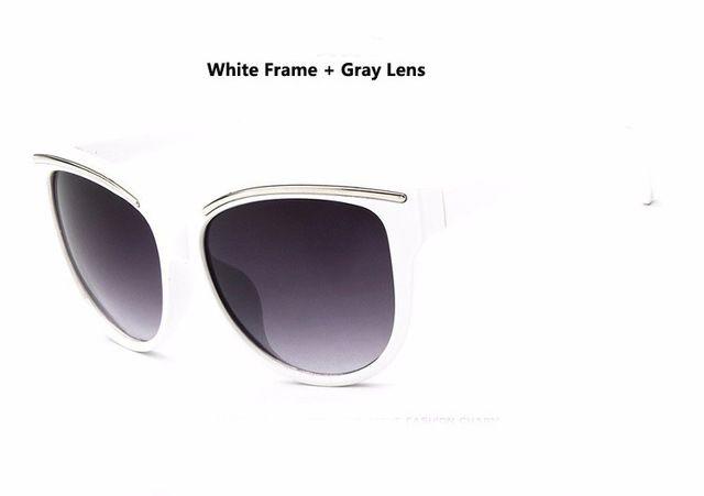 oculos de sol feminino 2016 Sunglasses Women Fashion Cat Eye Frame Mirror Sun Glasses Flat men Outdoor Sunglasses UV400  White