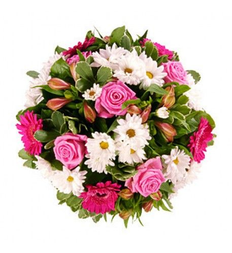 A bright floral tribute combining beautiful pink aqua roses and pink alstromeria, pink gerberas with pure white chrysanthemums and framed by attractive foliage