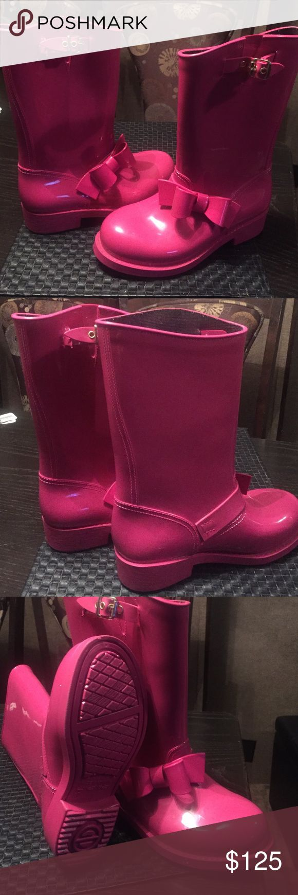 Pink rain boots by red Valentino Pink rain boots with bow Red by Valentino RED Valentino Shoes Winter & Rain Boots