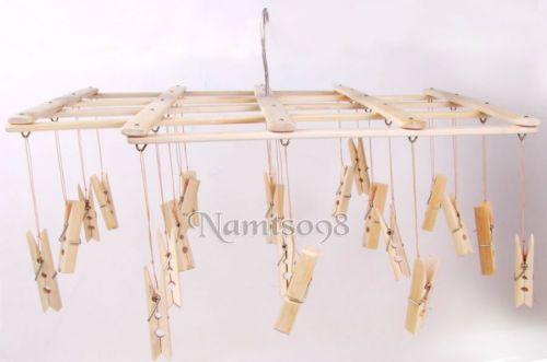 Bamboo Folding Laundry Clothes Airer Dryer Organizer Rack 22 Pegs Hanger Clips | eBay