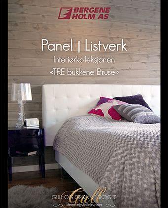 Brosjyren TRE bukkene Bruse om børstet trepanel.  #trebukkenebruse #panel #interiør