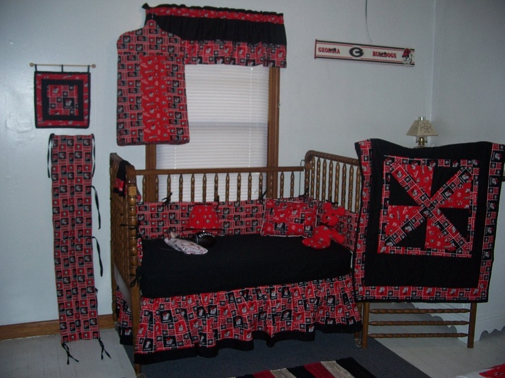 Georgia bulldog nursery crib bedding 12 piece set 240 for Georgia bulldog bedroom ideas