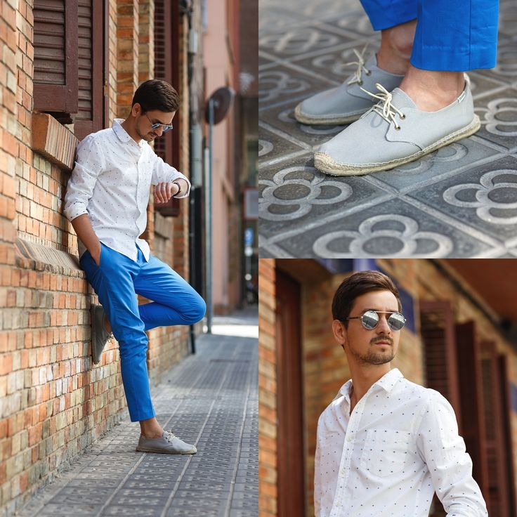 Blog post: http://themysteriousgirl.ro/2015/06/another-one-from-barca/ Instagram: https://instagram.com/adriansunriseinc/ blue pants trousers dots shirt soludos espadrilles
