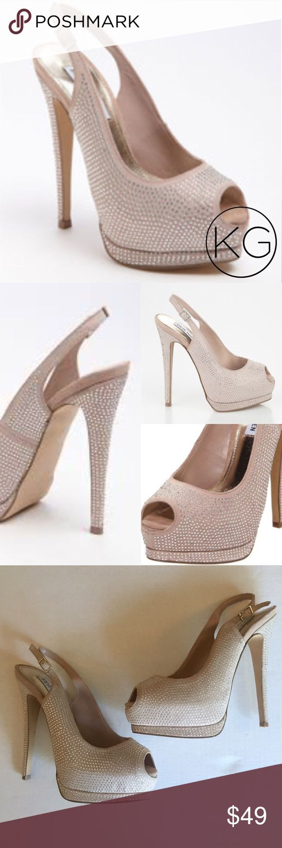 """Steve Madden Masqraid Rhinestone Peep Toe Pumps In great pre-owned condition! Some signs of wear, see photos for details 😊 •Women's size 7.5 •Beautiful champagne color peep-toe heels with rhinestones •6"""" stacked heel, 1.5"""" platform •Leather upper, Manmade sole  •Left shoe missing some rhinestones, a few dark scuffs near the sole- not noticeable when on but worth noting.  •Last two photos are of actual shoes •Retail $140 🚫no trades nor lowball offers🚫 Thank you for shopping in my closet…"""