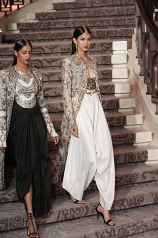 Jacket with crop top and sharra/pallazos/dhoti pants Anamika Khanna - Summer/Resort 2015