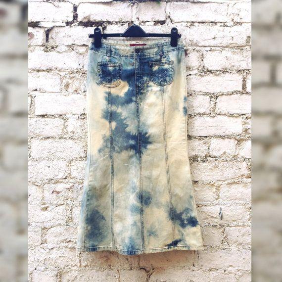 Denim Maxi Skirt Bohemian Style Tie Dye Long Jean Skirt to fit UK Size 8 or US size 4 Festival Hippie Winter Fashion
