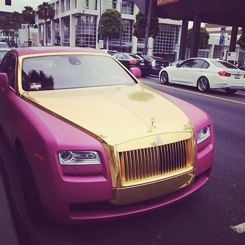 tyrese rolls royce ghost sprinter. only in beverly hills spotted outside the painted woman nail salon a rolls royce ghost wrapped pink and gold chrome tyrese sprinter