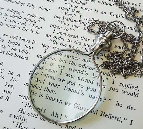 Silver Monocle Necklace - Magnifying Glass Necklace Pendant - Vintage Style Silver Monocle Necklace