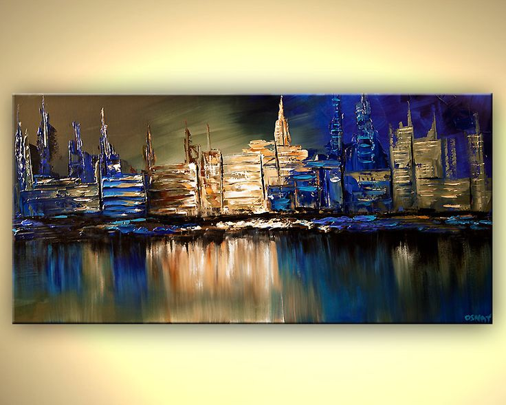 Original abstract art paintings by Osnat - blue cityscape reflected on water