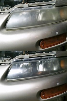 Toothpaste on Headlights - rub toothpaste in circular motions over the headlight.