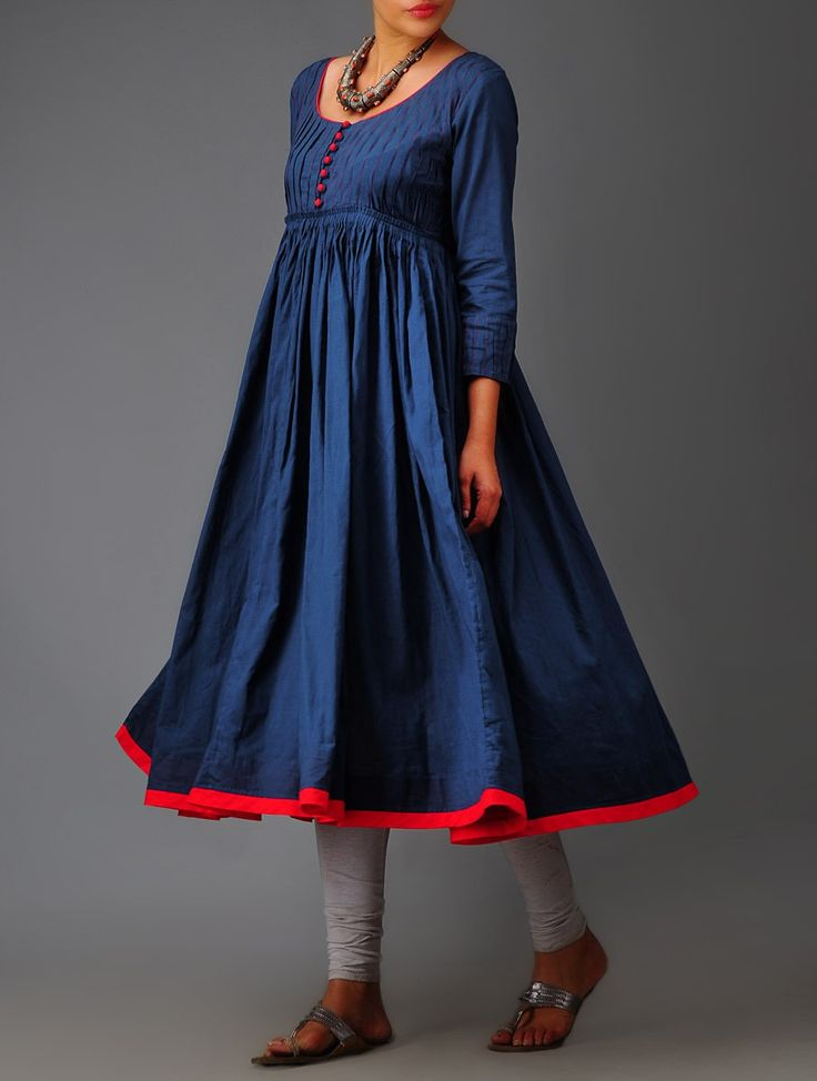 Buy Deep Indigo Random Tuck Pleated Mulmul Kurta Online at Jaypore.com