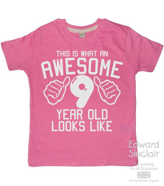 This Is What An Awesome 9 Year Old Looks Like Girls 9th Birthday T Shirt With White Glitter Print