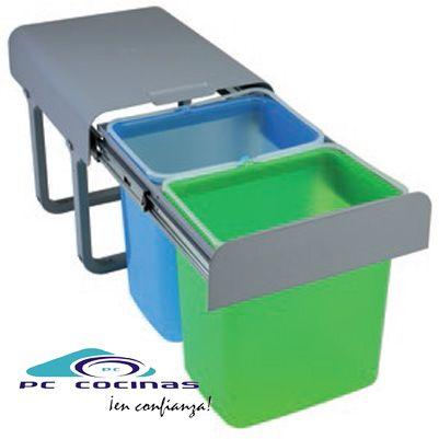 EKKO Cubo ecológico de extracción total, en 4 versiones  Interior disponible en 4 opciones.  Con un cubo interior de 34 litros  Con dos cubos interiores de 16 litros  Con tres cubos interiores con 1 de 16 litros y dos de 8 litros  Con cuatro cubos interiores de 8 litros  Dimensiones  Ancho 35,5 cm x Alto 36 cm x Fondo 47 cm minimo y 91 cm maximo