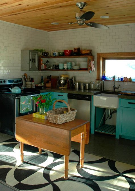 turquoise against white and wood.: Cabinets, Kitchens Interiors, Kitchens Design, White Teal Kitchens, Subway Tile, Old Tables, Design Kitchens, Paintings Floors, Woods Ceilings