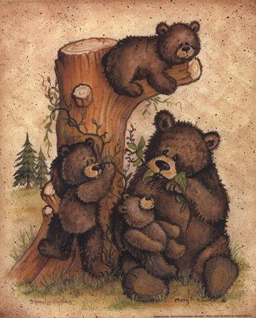 Family Outing by Mary Ann June art print | Bear Cabin Decor