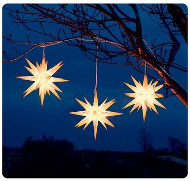 the Moravian Star - (German: Herrnhuter Stern) is an illuminated piece of Advent or Christmas decoration popular in Germany and in places in America and Europe where there are Moravian congregations