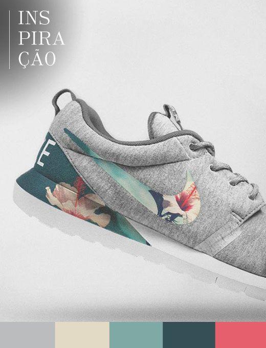 Friozinho pede roupas confortáveis, sem perder o estilo. Por isso, adorei esse tênis da Nike de moletom, com desenho floral. Quero usar com jeans e camisa.
