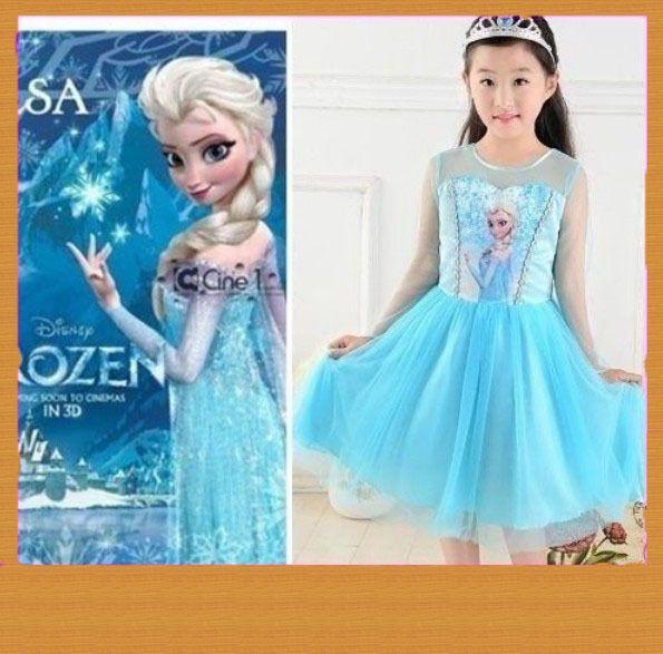 9-10 Years Old Lovely Skirt Dress for Disney Frozen Queen Girls  Bule COLOR #disney