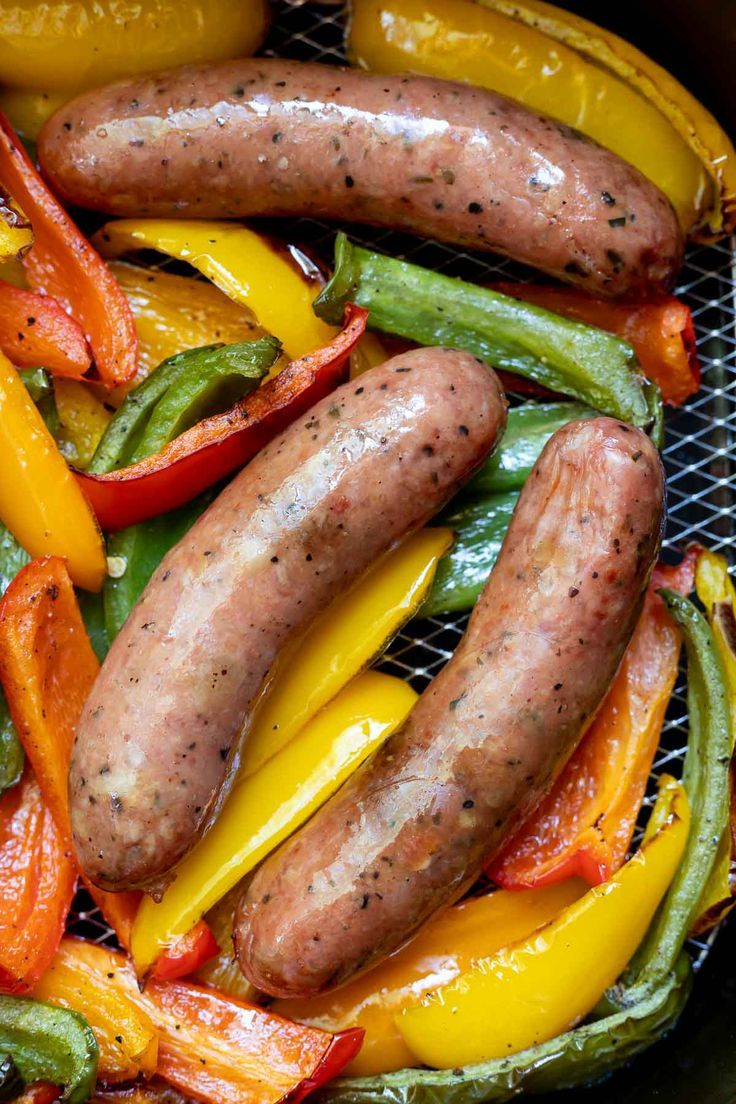 Air Fryer Sausage and Peppers Recipe Air fryer dinner
