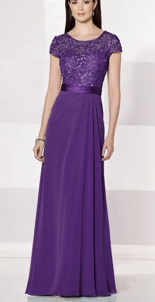 e78d16871d1ac Feminine full length lace chiffon dress in Cadbury purple Sweetheart bodice  with a short sleeve round